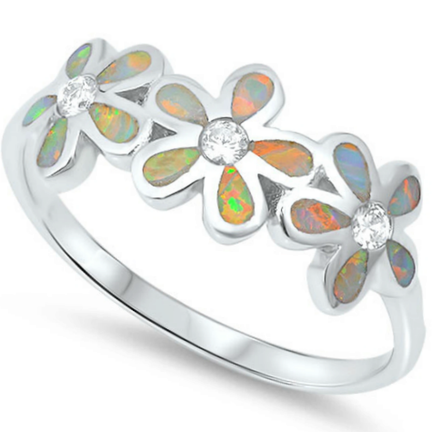 Rainbow opal daisy flower ring in sterling silver - each one is handmade
