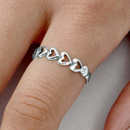 Sterling Silver Heart Eternity ring for Baby, Kids and Ladies size 2-9 - Blades and Bling Sterling Silver Jewelry