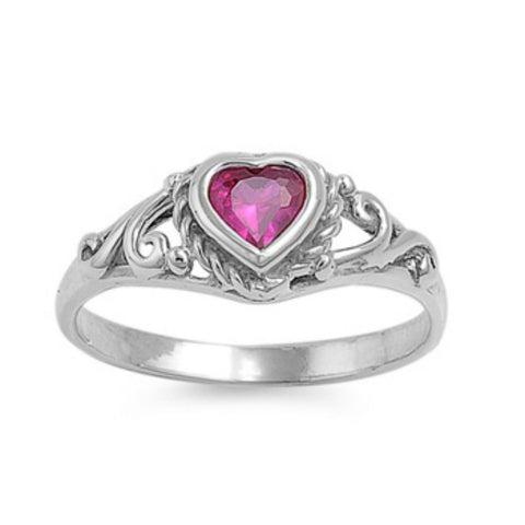 .925 Sterling Silver Ruby Red CZ Heart Ring Size 1-5