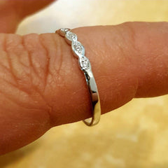 .925 Sterling Silver CZ Thin Band Baby Kids and Ladies ring size 1-10