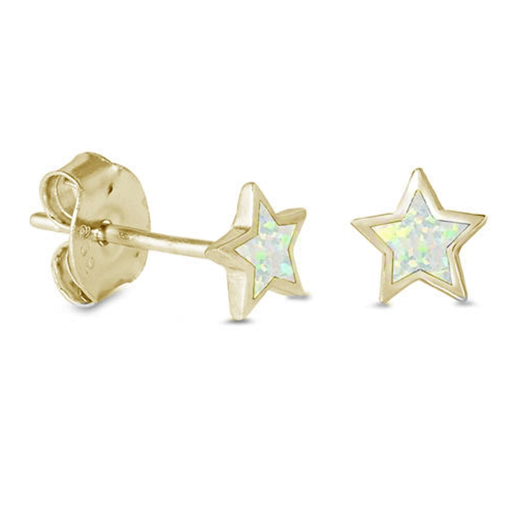 Rainbow Opal Star Earring Studs in Yellow Gold