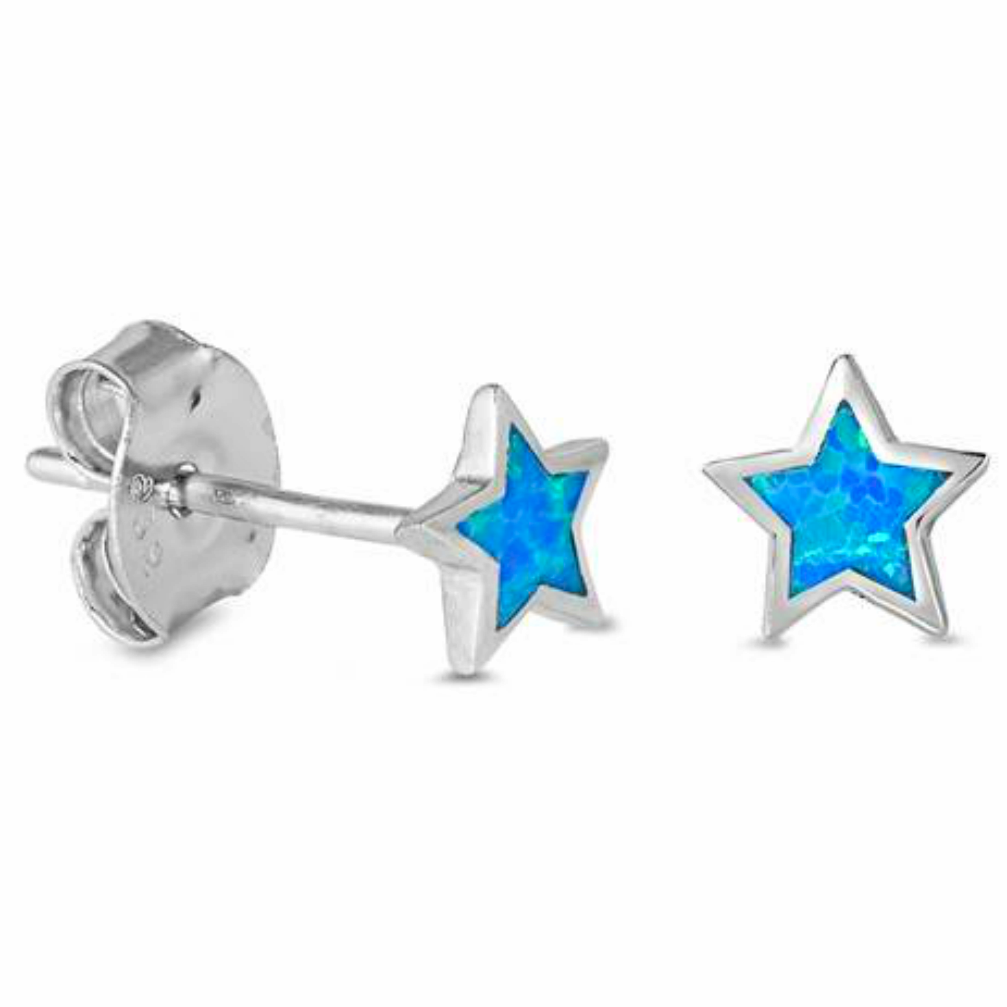 Womens and girls blue Opal Star Earring Studs