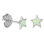 Womens and girls White Opal Star Earring Studs