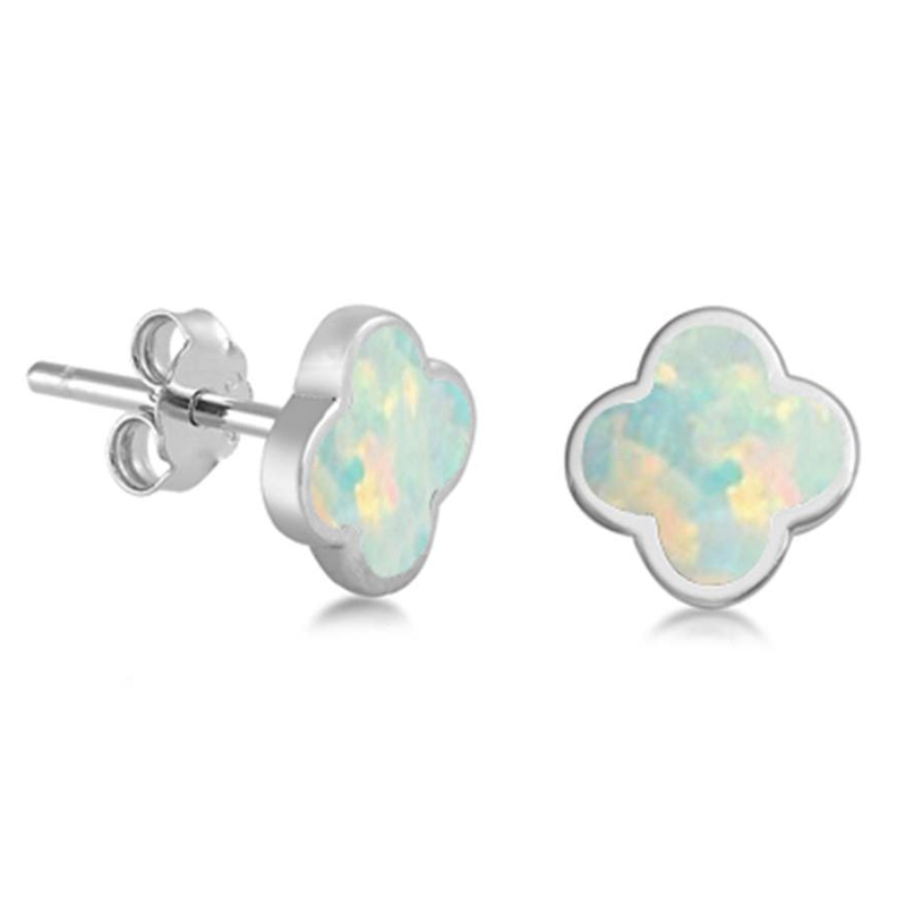 Womens or girls flower opal earring studs