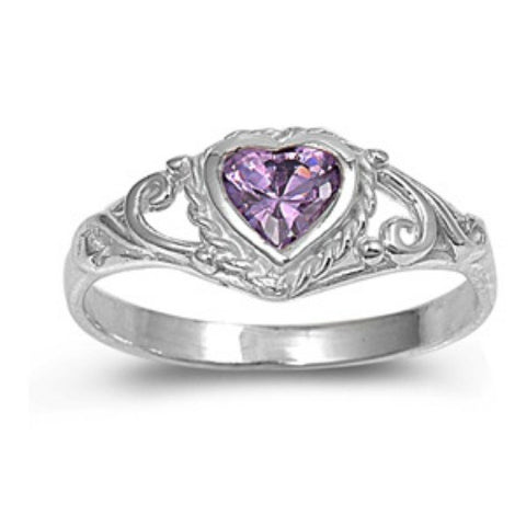 .925 Sterling Silver Purple Amethyst CZ Heart Ring Size 1 2 3 4 5 - Blades and Bling Sterling Silver Jewelry