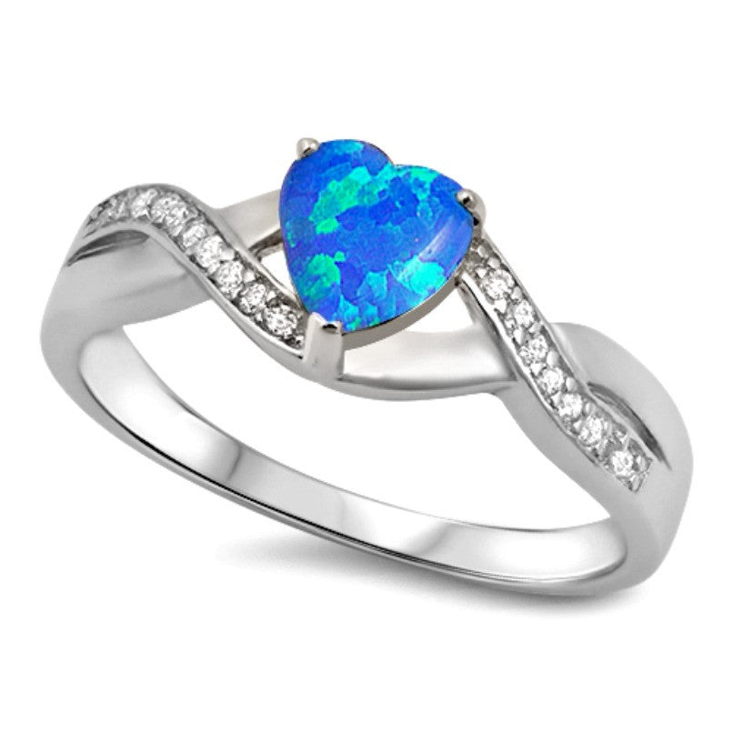 Womens infinity heart blue opal silver ring