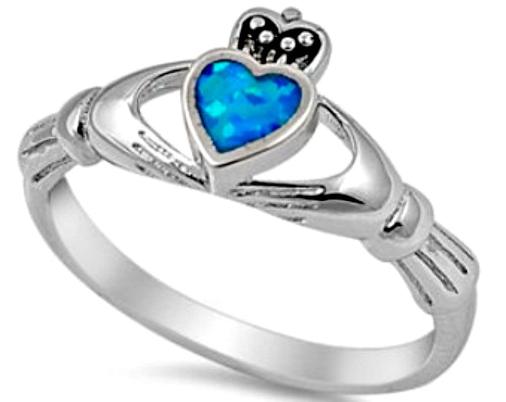 Womans and girls blue fire opal heart cut ring in sterling silver