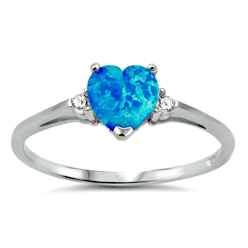 .925 Sterling Silver Blue Opal Heart Ring Ladies and Kids size 4-12 Midi