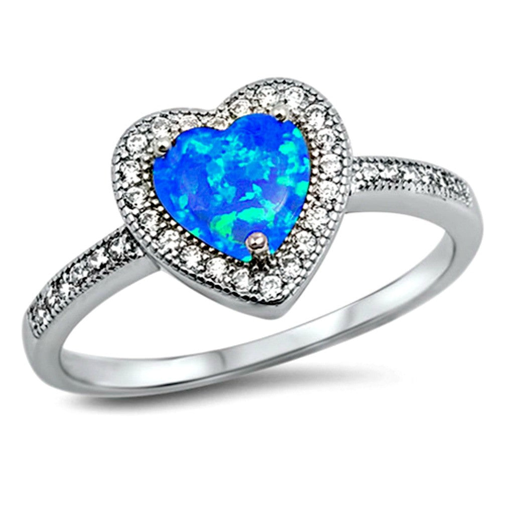.925 Sterling Silver Halo Blue Fire Opal Heart Engagement Ladies Ring size 4-10