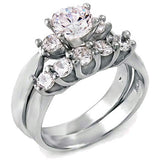Sterling Silver 1.25 carat Round Cut CZ Wedding Ring set size 5-9