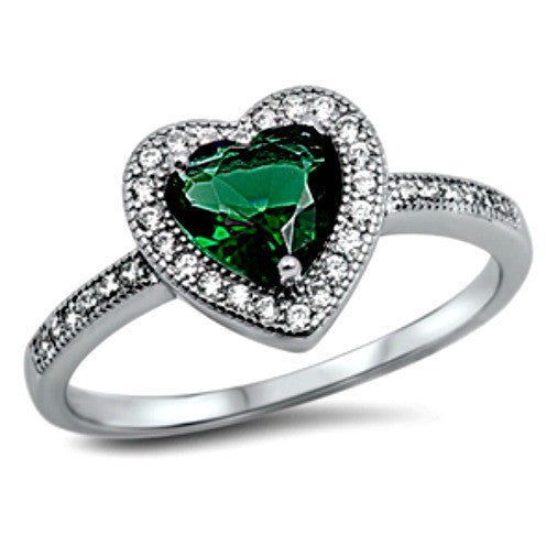 Green emerald heart May birthstone gift for your special woman
