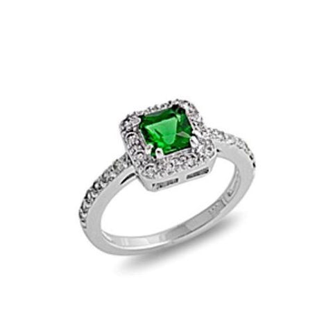 Sterling Silver Halo Green Emerald CZ Princess Cut Engagement Ring size 5-10 - Blades and Bling Sterling Silver Jewelry