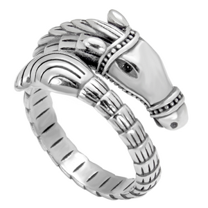 Regal steed horse ring for ladies in Sterling Silver