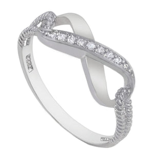 Blue Sapphire CZ Rope Infinity Ring .925 Sterling Silver Thumb Band Sizes 4-10