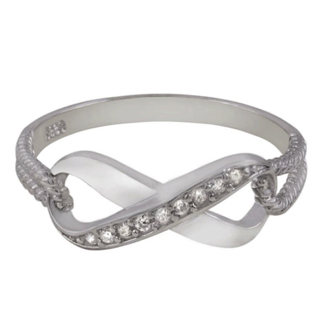 .925 Sterling Silver Infinity CZ Ring  with Rope Band Size 4-9