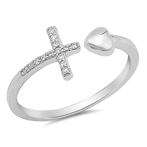 925 Sterling Silver Ladies CZ Heart and Sideways Christian Cross Wrap ring  Size 4-10
