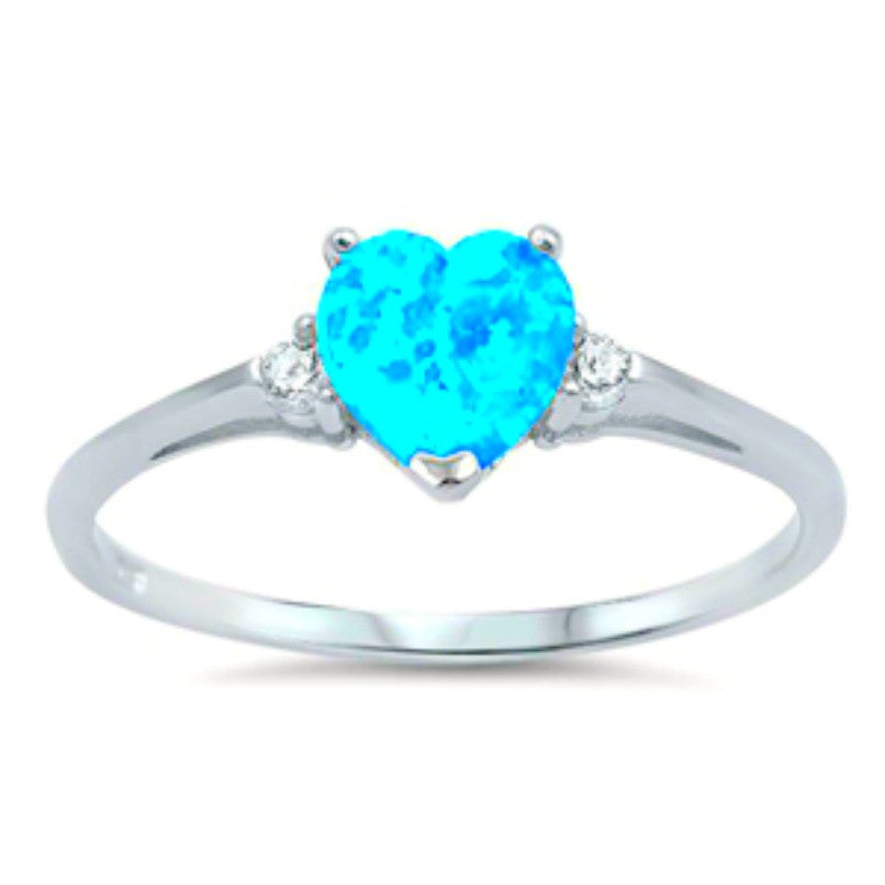 Womens and girls heart cut blue opal ring