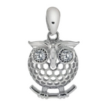 Charming owl pendant with sparkling eyes in solid .925 silver