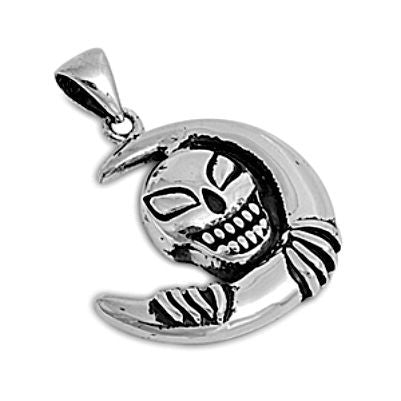 Sterling Silver Skull with Crescent Moon pendant - Blades and Bling Sterling Silver Jewelry