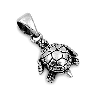 Sterling Silver Cute Tiny Turtle pendant - Blades and Bling Sterling Silver Jewelry