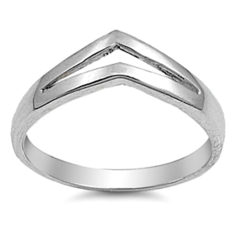 .925 Sterling Silver Double Chevron V Arrow Ladies Ring Size 4-10 - Blades and Bling Sterling Silver Jewelry