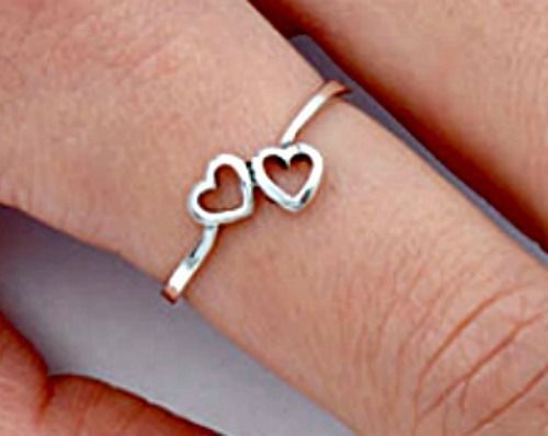 .925 Sterling Silver Tiny Double Heart Kids and Ladies ring size 2-10 Midi Knuckle Thumb