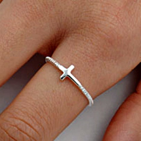 .925 Sterling Silver Beaded Christian Cross Sideways Ladies Ring Size 2-13 by  Blades and Bling Sterling Silver Jewelry