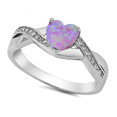 .925 Sterling Silver CZ and Pink Fire Opal Heart Celtic Ladies promise ring size 4-10
