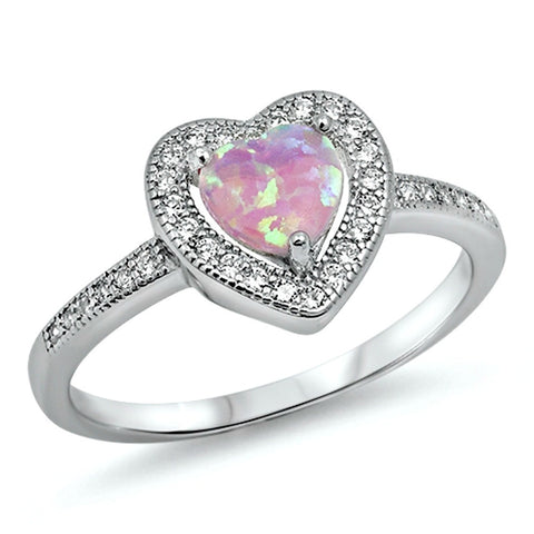 .925 Sterling Silver Halo Pink Opal Heart Engagement Ring size 4-12