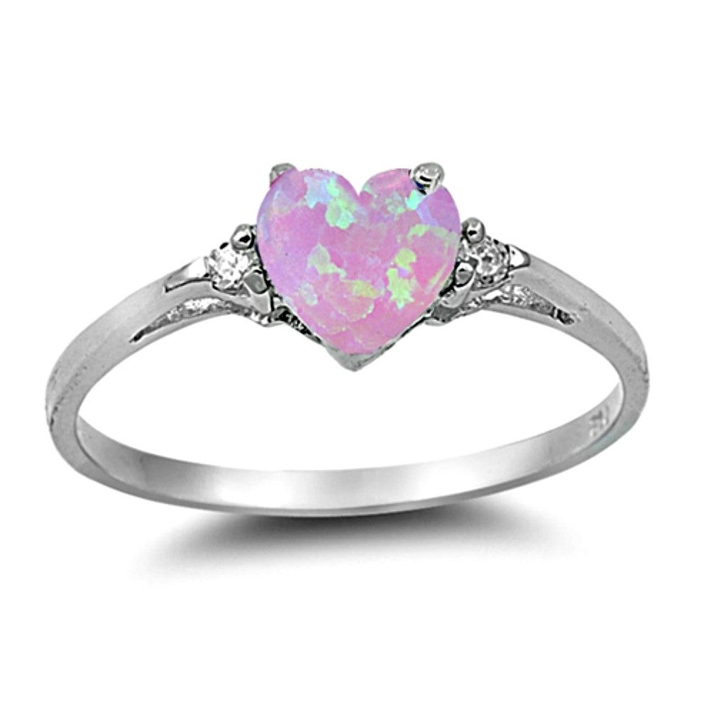 .925 Sterling Silver Pink Opal Heart Kids and Ladies ring size 4-12