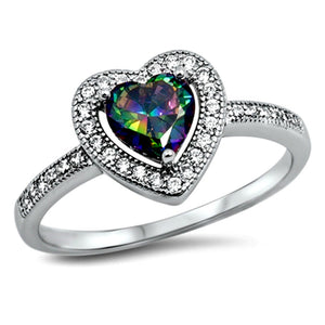 Womans gorgeous rainbow heart cut solitaire ring in sterling silver