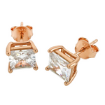 Rose Gold Ladies Princess cut stud earrings
