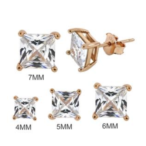 Simulated diamond square cut stud earrings in rose gold size chart 3mm thru 8mm