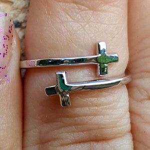 .925 Sterling Silver Double Cross Sideways Ladies Wrap Ring Size 2-10 Adjustable Midi Toe
