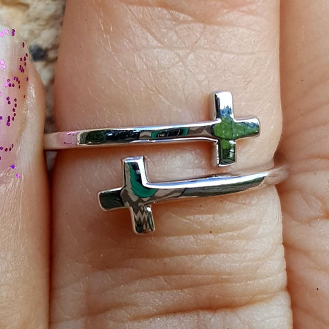 .925 Sterling Silver Double Cross Sideways Ladies Wrap Ring Size 2-10