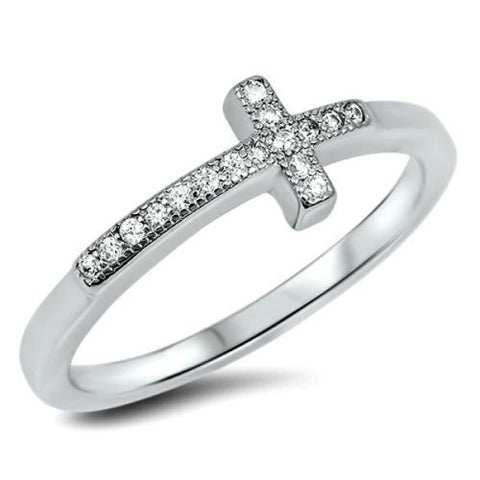 .925 Sterling Silver Christian Cross Ladies Fashion CZ Ring Size 3-12 - Blades and Bling Sterling Silver Jewelry