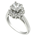 Womens halo engagement ring