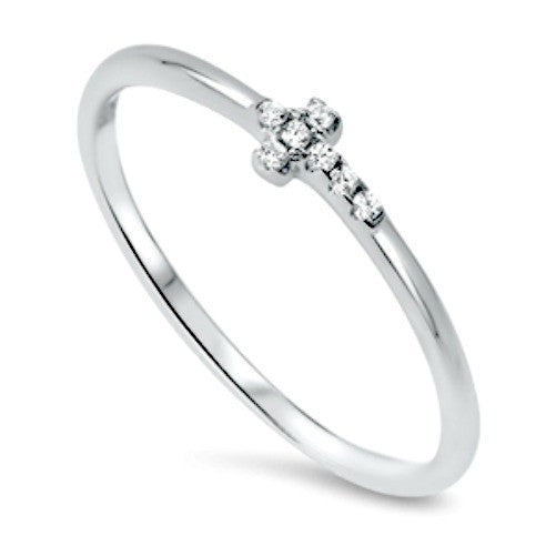 Womens and girls tiny side ways cross ring