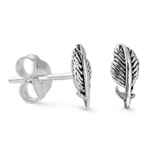 Sterling Silver Feather Stud Earrings