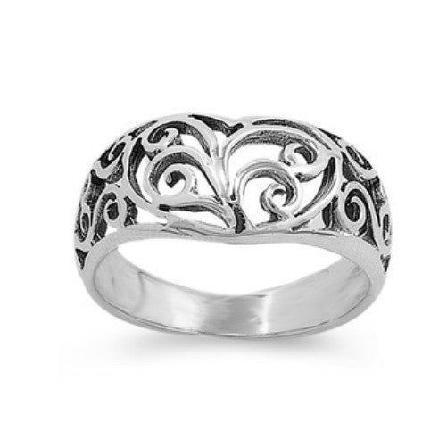 Womens wide band Celtic heart ring