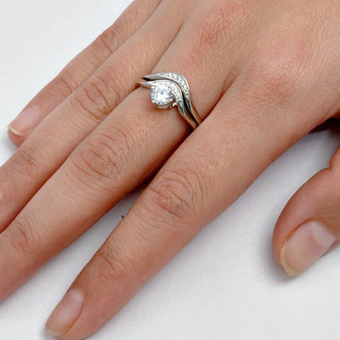 Sterling Silver CZ 1 Carat Brilliant Round Cut Wedding Ring Set Size 5 10 By