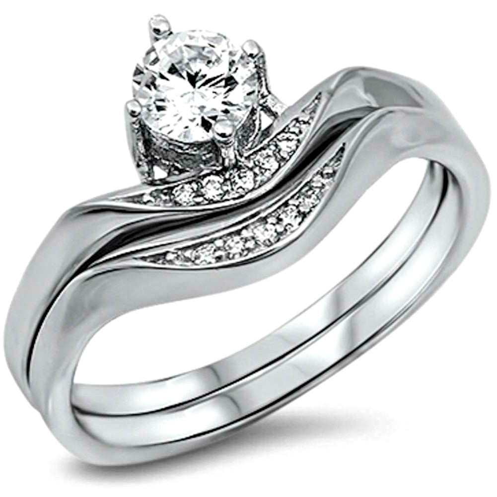 Sterling Silver CZ 1 carat Brilliant Round Cut Wedding Ring Set size 5-10 by Blades and Bling