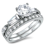 Sterling Silver CZ 1.5 carat Brilliant and Baguette Cut Wedding Ring Set 5-10 - Blades and Bling Sterling Silver Jewelry