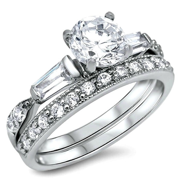Sterling Silver CZ 15 Carat Brilliant And Baguette Cut Wedding Ring Set 5 10