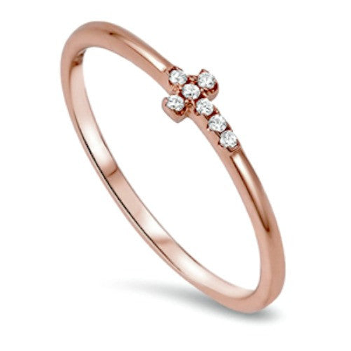 Sterling Silver Rose Gold Ladies Christian Cross Midi Ring or Knuckle ring size 2-10 - Blades and Bling Sterling Silver Jewelry