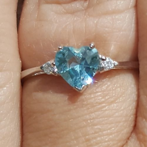 Sterling Silver Aquamarine Heart cut Kids and Ladies ring size 3-12