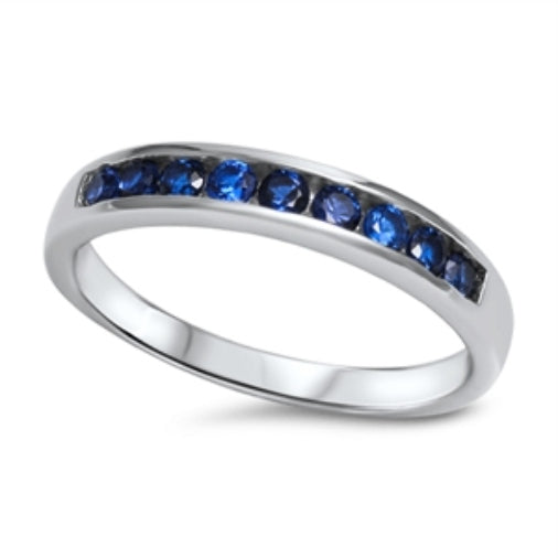 Womens and girls blue sapphire silver band ring