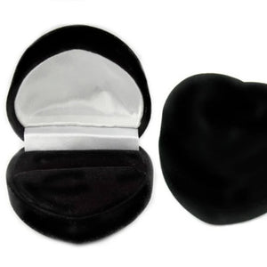 Womens black velvet heart box comes with engagement ring
