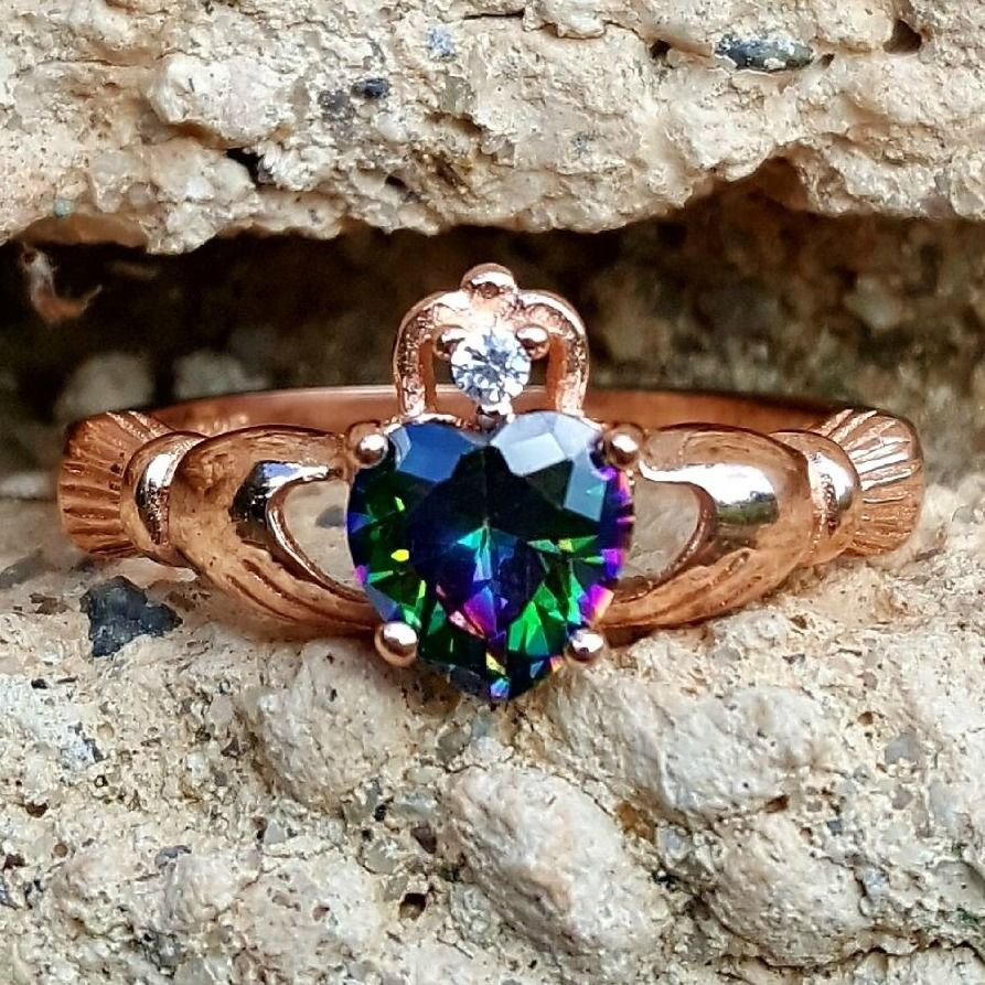 .925 Sterling Silver Rose Gold Rainbow Mystic Topaz Claddagh Ring Size 4-10