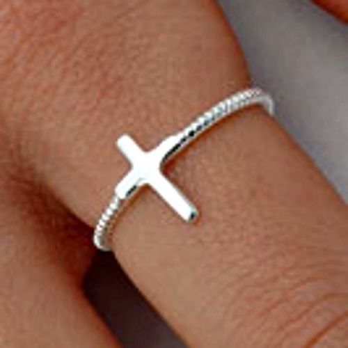 .925 Sterling Silver Beaded Cross Upright Ladies Ring Size 2-10 Midi